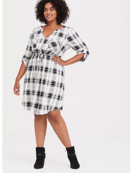 Black & Multi Plaid Drawstring Challis Shirt Dress by Torrid