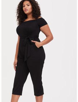 Black Premium Ponte Off Shoulder Jumpsuit by Torrid