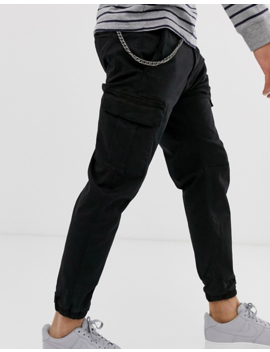 Pull&Bear Cargo Pants With Chain In Black by Pull&Bear