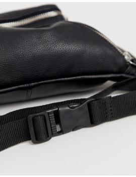 Asos Design Fanny Pack In Black Leather With Front Pouch by Asos Design