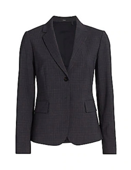 Carissa Houndstooth Wool Blend Blazer by Theory