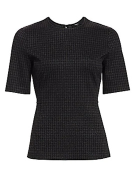 Houndstooth Print Short Sleeve Tee by Theory