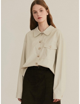 Monts 979 Faux Leather Blouse Light Beige by Monts