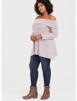 Super Soft Plush Dusty Pink Off Shoulder Pullover by Torrid