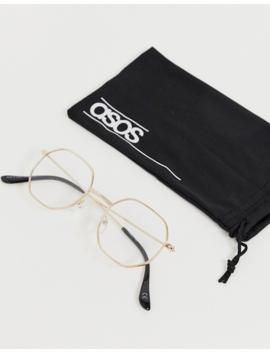 Asos Design Angled Gold Clear Lens Glasses by Asos Design