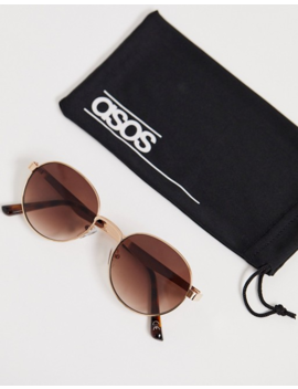 Asos Design Round Sunglasses In Gold With Brown Grad Lens by Asos Design