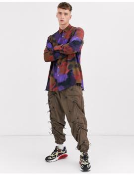 Asos Design Oversized Longline Shirt In Splurge Print by Asos Design
