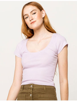Destined Picot Trim Neck Lavender Womens Tee by Destined