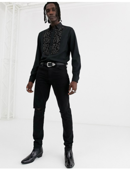 Asos Design Regular Fit Shirt With Beaded Lace Bib Detail In Black by Asos Design