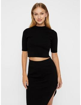 Cropped High Neck Sweater by Noisy May