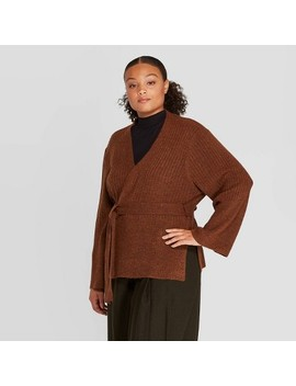 Women's Plus Size Long Sleeve Open Front Belted Ribbed Cardigan   Prologue Rust by Front Belted Ribbed Cardigan