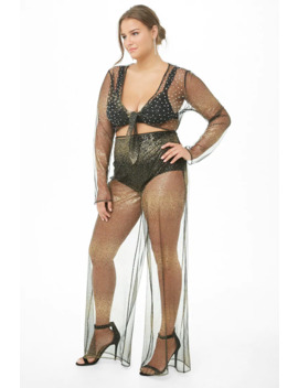 Plus Size Sheer Sequin Crop Top & Pants Set by Forever 21