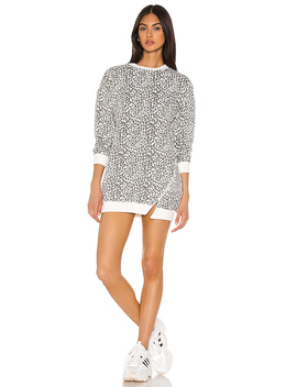 Tarina Zip Sweatshirt Dress In White Leopard by Superdown