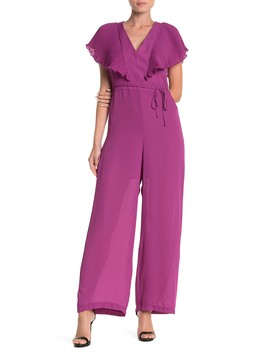 Pleated Short Sleeve Tie Back Jumpsuit by Free Press