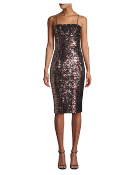 Chrystie Square Neck Sleeveless Striped Sequin Cocktail Dress by Milly