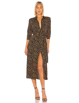 Leopard Shirt Dress In Navy Leopard by Bardot