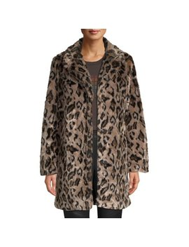Scoop Faux Fur Leopard Overcoat Women's by Scoop