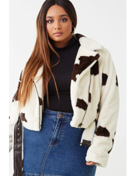 Plus Size Cow Print Moto Jacket by Forever 21