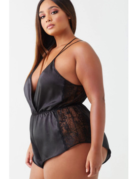 Plus Size Lace Trim Teddy by Forever 21