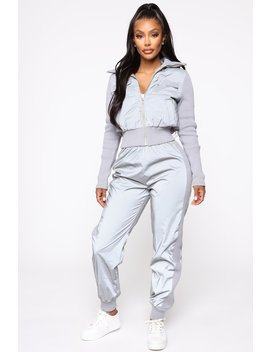 See Me Coming Reflective Set   Silver by Fashion Nova