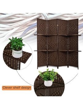 Room Divider 4 Panel Room Screen Divider Wooden Screen Folding Portable Partition Screen Screen Wood With Removable Stoeage Shelves Colour Brown by Best Massage