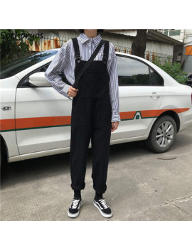 Jumpsuits Women Retro Loose Student Korean Style Strap Denim Jumpsuit Womens Fashion Simple Solid All Match Casual Chic Trousers by Ali Express