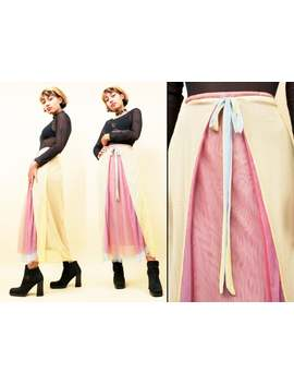 80s 90s Vtg Micro Mesh Maxi Skirt 3 Color Apron Reversible Feminine Whimsical Column High Fashion Tulle Gaultier Vibe Pink Blue Yellow S M L by Etsy