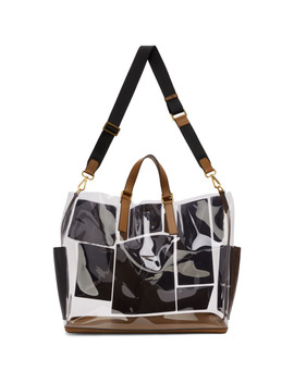 Transparent & Brown Leather & Fur 'forever Fendi' Patch Pocket Tote by Fendi