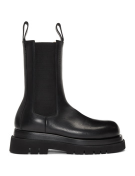 Black Mid Calf Chelsea Boots by Bottega Veneta