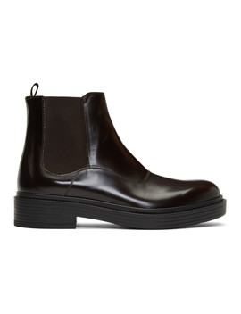 Brown Leather Chelsea Boots by Giorgio Armani