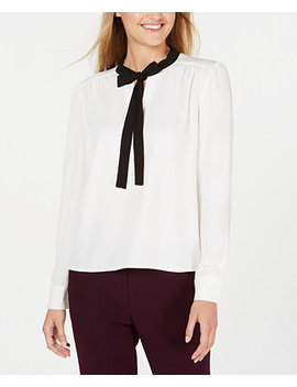 Bow Neck Long Sleeve Top by General