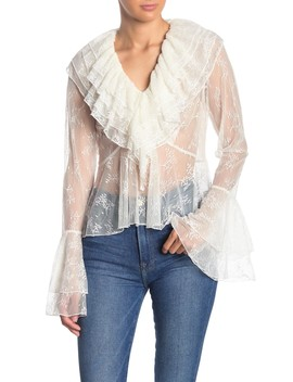 See Through Ruffle Trim Blouse by Tov