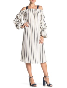 Striped Balloon Sleeve Midi Dress by Tov
