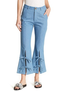Front Split Extended Denim Capri Pants by Tov