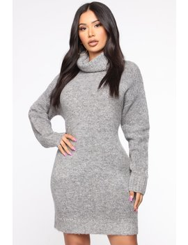 All You Wanted Sweater Mini Dress   Heather Grey by Fashion Nova