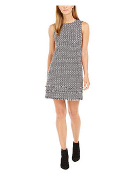 Fringed Tweed Shift Dress by General