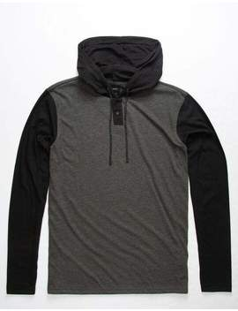Rvca Pick Up Gray & Black Mens Lightweight Hooded Henley by Rvca