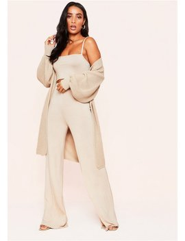 Jimena Stone Balloon Sleeve Knitted Cardigan by Missy Empire