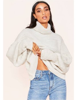 Aiyana Beige Balloon Sleeve Roll Neck Cropped Jumper by Missy Empire