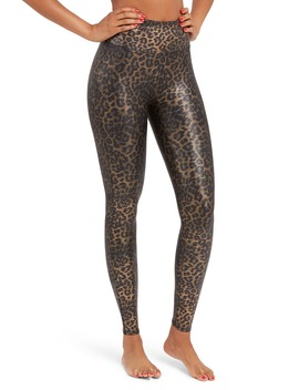 Leopard Print Faux Leather Leggings by Spanx®