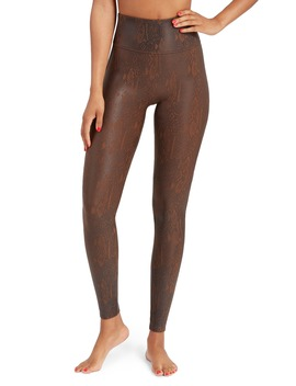 Snakeskin Print Faux Leather Leggings by Spanx®