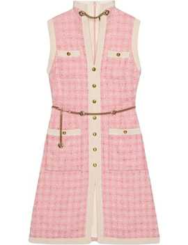 Short Tweed Dress With Chain Belt by Gucci