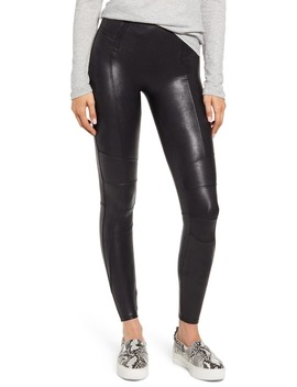 Hip Zip Faux Leather Leggings by Spanx®