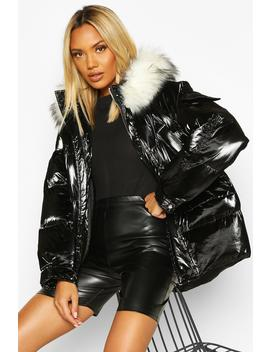 Pocket Pearlescent Faux Fur Trim Puffer by Boohoo