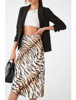 Satin Tiger Print Midi Skirt by Forever 21