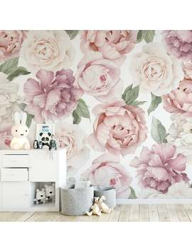 Peony And Rose Floral Wallpaper Mural by Etsy