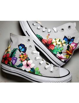 Hand Painted Butterfly And Floral Shoes by Etsy