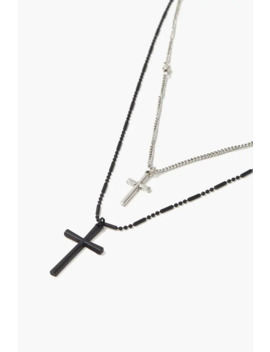 Men Layered Cross Pendant Necklace by Forever 21