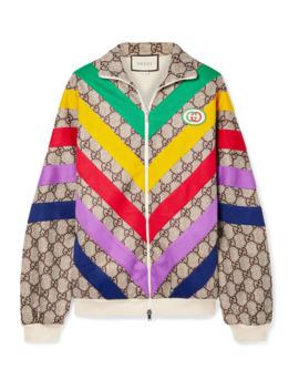 大廓形贴花印花科技平纹布休闲夹克 by Gucci