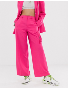 Collusion Wide Leg Tailored Pants With Pocket by Collusion